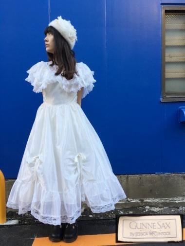 GUNNE SAX 70's フリルカラープリンセスドレス ホワイト Size:約9