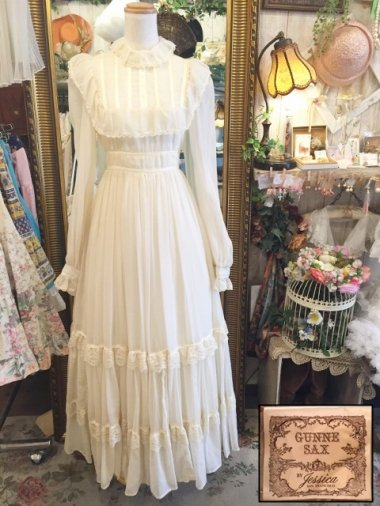 Vintage U.S.A. GUNNE SAX 70s ヨーク切替えクラシカルガーリーワンピース Size:9