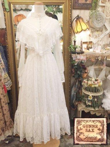 Vintage U.S.A. GUNNE SAX 70s 総チュール ヴィクトリアンホワイトドレス Size:約M