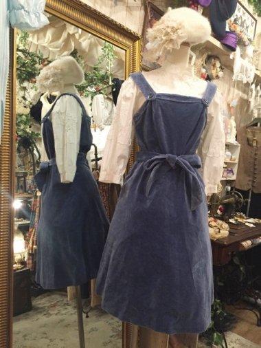ヨーロッパヴィンテージ ウエストリボンベロアジャンパースカート Size:約M