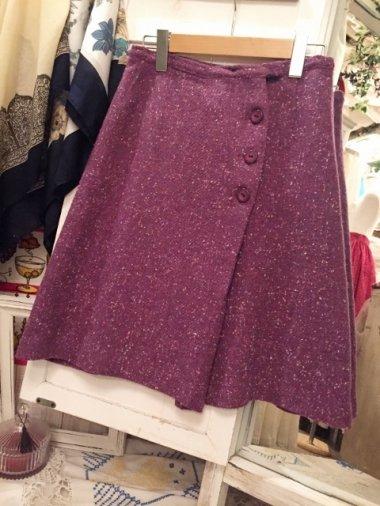 アメリカヴィンテージ 3つボタンツイードスカート Size:約M