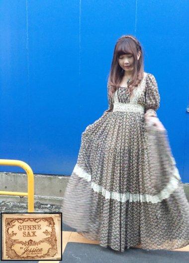 GUNNE SAX 70's 花柄ロングワンピース グリーン デカタグ Size:約M