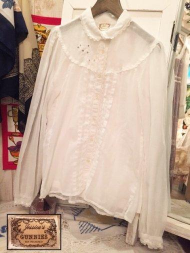 GUNNIES 70's お花刺繍ホワイトブラウス Size:約M
