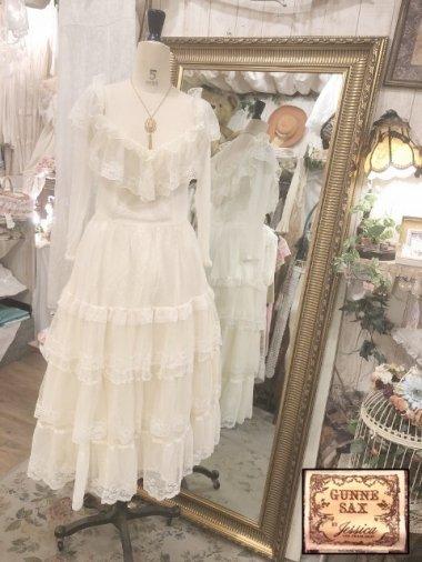 GUNNE SAX 70's 総チュールロマンティックドレス ライトクリーム Size:13
