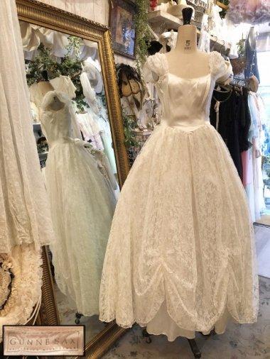 GUNNE SAX 80's フラワーレースホワイトドレス Size:7