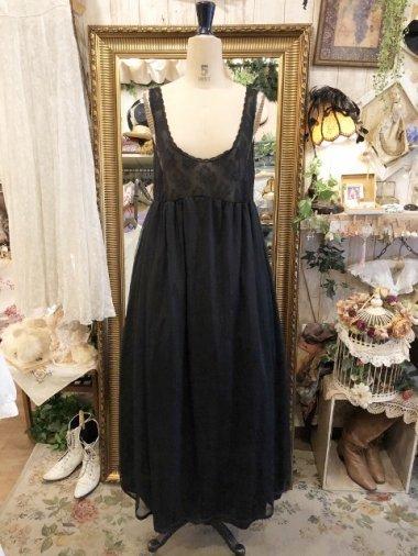 Vintage Nightie 胸元レースシアーロングワンピース ブラック Size:M
