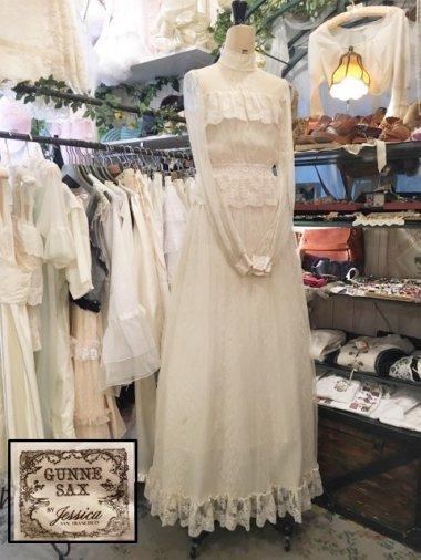 GUNNE SAX 70's 総チュールぺプラムワンピースドレス Size:7