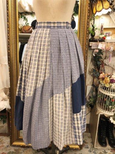 ヨーロッパヴィンテージ チェック切り替えチロルスカート Size:40
