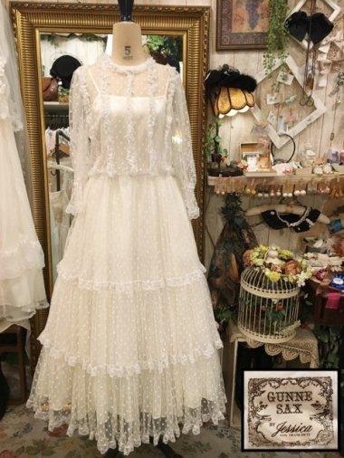 GUNNE SAX 70's 総チュールティアードホワイトドレス Size:11