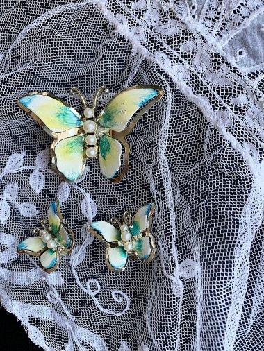 Vintage butterfly  brooch&earring