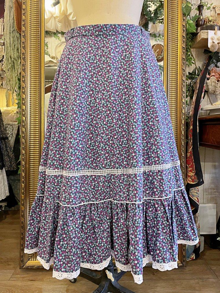 ビンテージ フリル切り替え花柄スカート size:約L