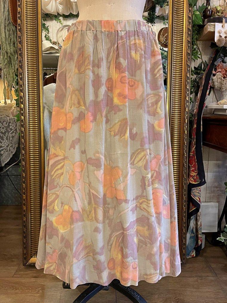ビンテージ 水彩画ペールカラーレーヨンスカート size:M
