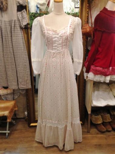GUNNE SAX 小薔薇柄シフォンロングワンピースドレス タグなし
