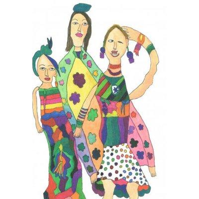 ポストカード<br>「三人組の女性」