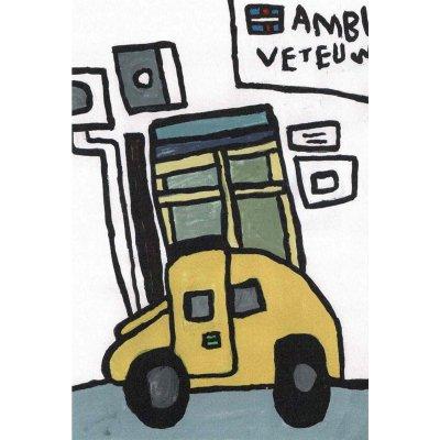 ポストカード<br>「店の前にとまっている黄色い車」