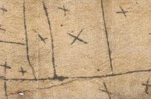ムブティ族 落書きみたいな線や×のあるタパ布