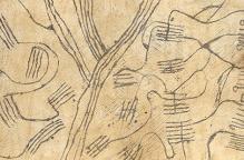 ムブティ族 特徴のある文様の木皮布「タパ」