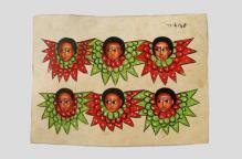 エチオピア 黒髪の天使たちが描かれた皮布