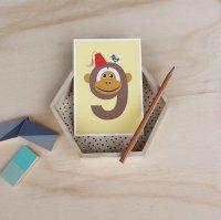 9 さる /NUMBER BIRTHDAY CARDS