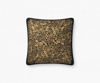 【ネコポス対応!】ゴールドタペストリー(ブラック)・クッションカバー(45×45cm)