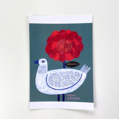 海老原 由美・Red flower and white bird are friends【ポストカード】<img class='new_mark_img2' src='https://img.shop-pro.jp/img/new/icons11.gif' style='border:none;display:inline;margin:0px;padding:0px;width:auto;' />