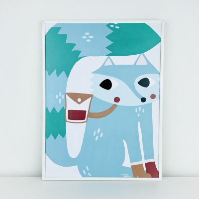 【送料無料】ピクニックフォックス (50cm×70cm)・フレームイン(アルミホワイト)