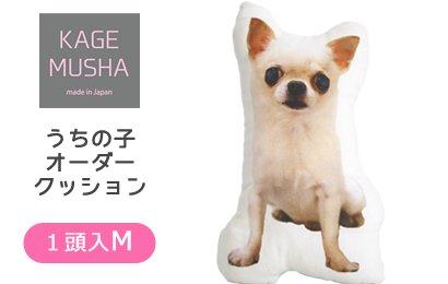 ペットの写真入りクッション☆【KAGEMUSHA】オーダーメイドクッション(1クッション1頭:Mサイズ長辺約42cm)