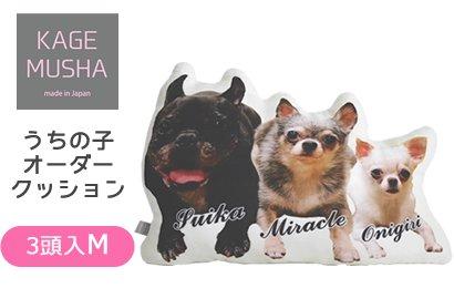 ペットの写真入りクッション☆【KAGEMUSHA】オーダーメイドクッション(1クッション3頭:Mサイズ長辺約42cm)