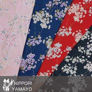 綿ちりめんプリント0606【#66 桜】生地巾:110cm