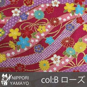 綿ちりめんプリント2201【#7 花と流水柄】7-B 生地巾:110cm