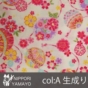 CBプリントSO1900【#2彩華物語 鞠柄】2-A 生地巾:110cm