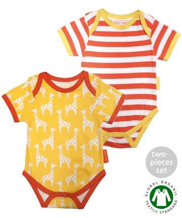 Toby Tiger ベビー服 3-6ヶ月/6-12ヶ月 Giraffe 半袖ロンパース2枚セット(トビータイガー)