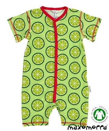 セール 北欧 ベビー服 ショートオール Lime ライム 3-9ヶ月/9-18ヶ月 Maxomorra マクソモーラ