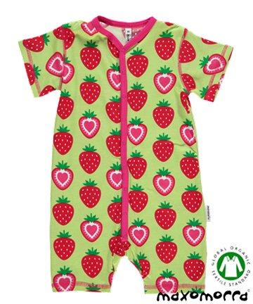 セール 北欧 ベビー服 ショートオール Strawberry いちご 70cm/80cm Maxomorra マクソモーラ