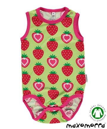 セール 北欧 ベビー服 袖なしロンパース Strawberry いちご 70cm/80cm Maxomorra マクソモーラ