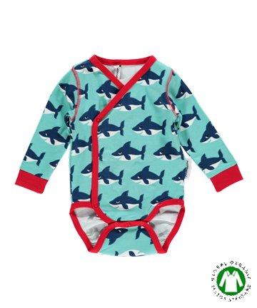 070ccd0fde222 北欧 新生児 ベビー服 Shark サメ 前開き長袖ロンパース 56 62   Maxomorra マクソモーラ