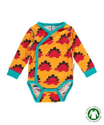 北欧 新生児 ベビー服 Dino 恐竜 前開き 長袖ロンパース 50 56|Maxomorra マクソモーラ