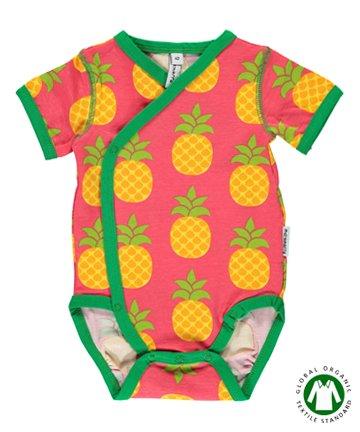 北欧 ベビー服 新生児 前開き半袖ロンパース 肌着 Pineapple パイナップル 50 62 マクソモーラ
