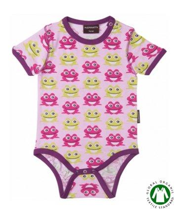 【20%OFF】セール 北欧 ベビー服 半袖ロンパース/肌着 Frog Pink カエル 70cm Maxomorra マクソモーラ
