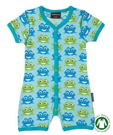 【20%OFF】セール 北欧 ベビー服 ショートオール Frog Blue カエル 70cm/80cm Maxomorra マクソモーラ