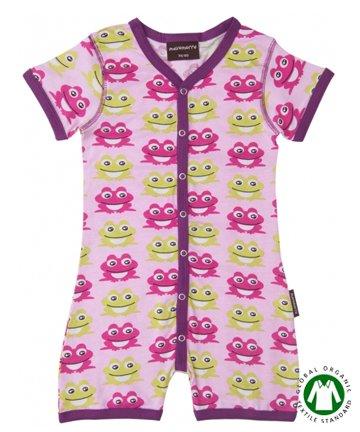 【20%OFF】セール 北欧 ベビー服 ショートオール Frog Pink カエル 70cm/80cm Maxomorra マクソモーラ