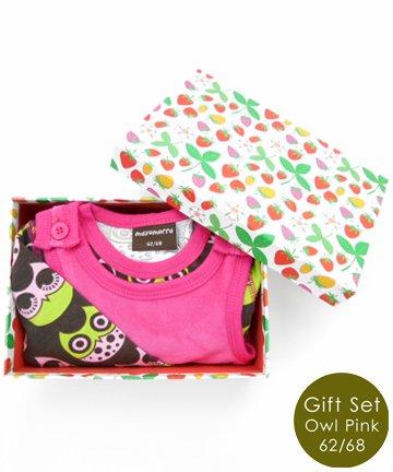 【送料無料/BOX代込み】出産祝い Owl Bodysuitフライングタイガーボックスギフトセット(3-9ヶ月)