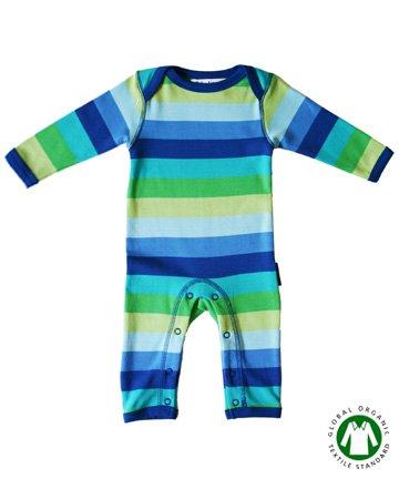 イギリスのベビー服 長袖カバーオール Blue Multi Stripes 3-6ヶ月/6-12ヶ月 tobytiger トビータイガー