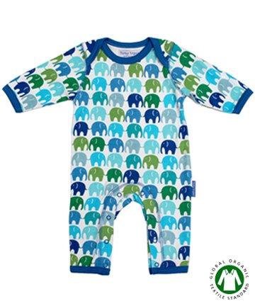 Toby Tiger ベビー服 3-6ヶ月/6-12ヶ月 Blue Elly Sleepsuit 長袖カバーオール(トビータイガー)