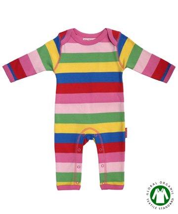 Toby tiger ベビー服 Girly Stripes 長袖カバーオール 3-6M 6-12M|トビータイガー