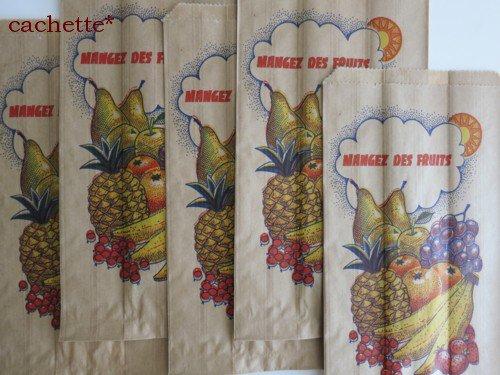 海外のマルシェ袋★フランス(茶・フルーツ・5枚セット)