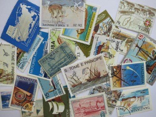 船の絵柄の使用済み切手