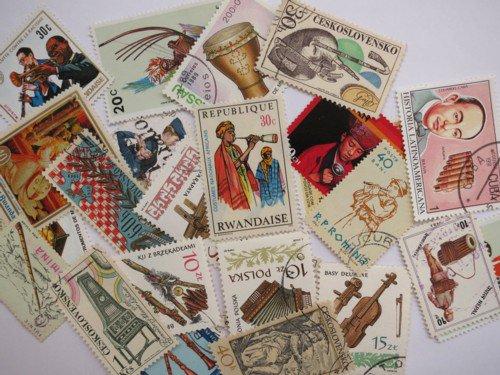 楽器の絵柄の使用済み切手