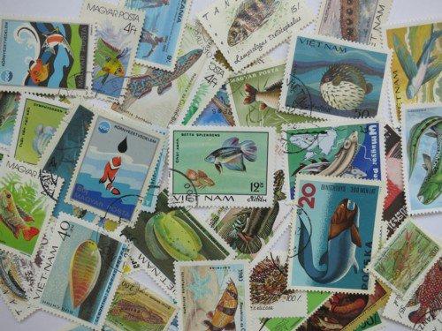 魚の絵柄の使用済み切手