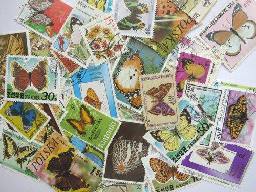 蝶・蛾の絵柄の使用済み切手